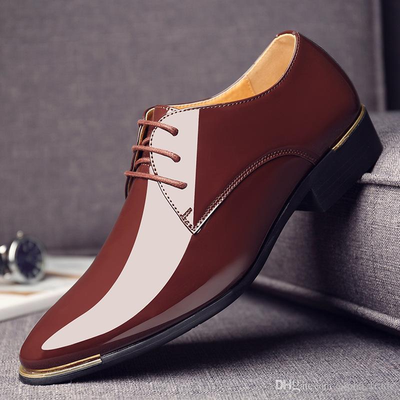 349e25cc Compre Zapatos De Cuero Para Hombre 2019 Nuevos Hombres De Primavera Y  Otoño, Charol, Ropa De Negocios, Zapatos Casuales, Zapatos Europeos De  Cuero ...