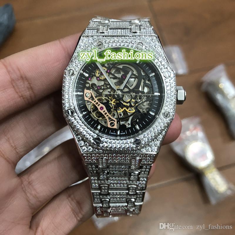 37a1ddc9ec205 Acheter Montre Ice Diamond Watch Haut Mécanique De Luxe Hommes Mécanique  Creux Face Montre Argent Diamant Cas Montre Bracelet De $451.78 Du  Zyl_fashions ...