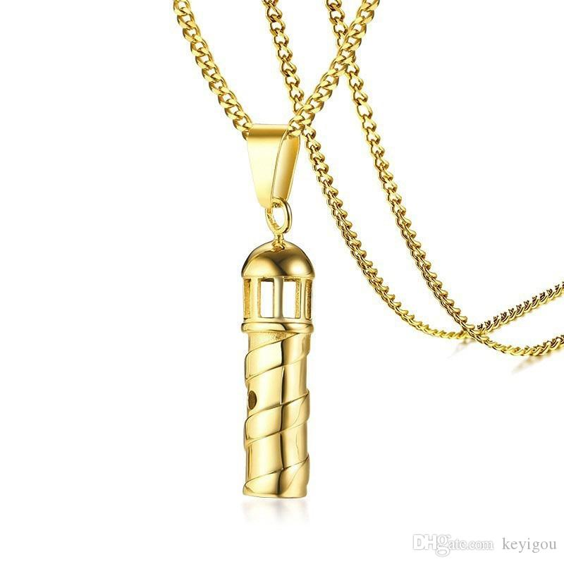 "Hollow Lighthouse Pendants for Men Women Gold Tone Stainless Steel Seal Jewelry Gift 24"" Chain"