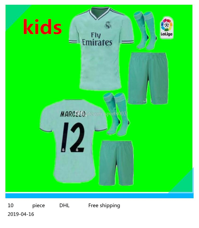 27f452bfd 2019 20 kids kit +sock Real Madrid third Soccer Jersey green NEW soccer  shirt  20 ASENSIO ISCO MARCELO madrid 19 20 Football uniforms