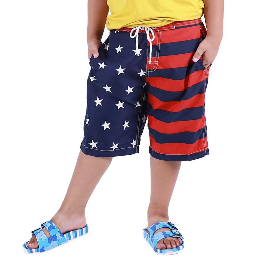Boy Kid Children Swim Trunk American Flag Swimwear Shorts USA Swimtrunk Gym Sport Jogger Sweat Beach Shorts#g7