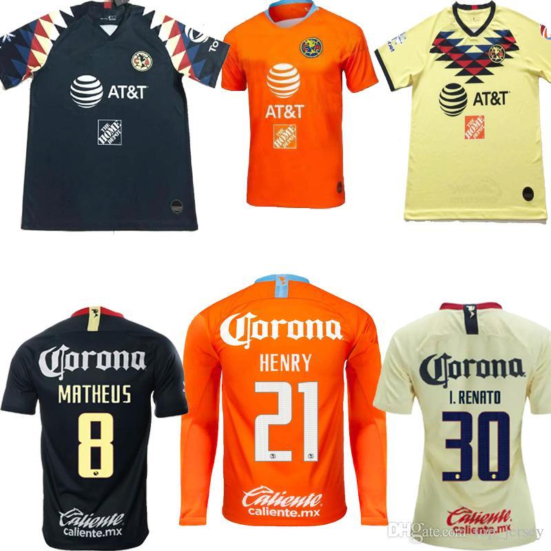 3106c33b890 2019 Mexico Club America Home Yellow Away Black 3rd Orange Soccer Jersey 19  20 C.BLANCO D.BENEDETTO R.SAMBUEZA O.PERALTA Football Shirt 2019 From  Top jersey ...