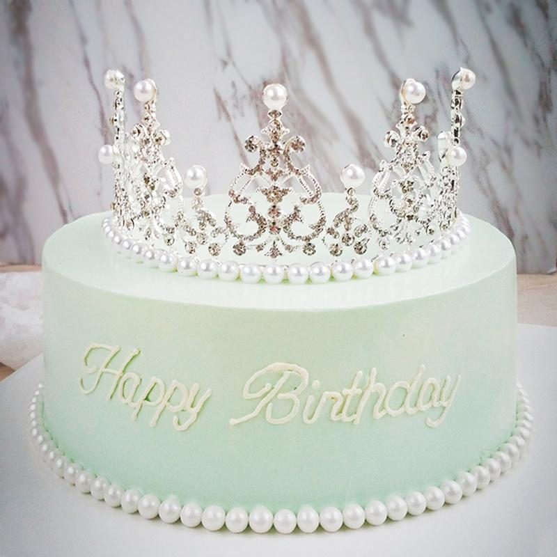 2019 Crystal Diamonds Pearl Crown Cake Toppers Wedding Christening Baptism Girls Princess Birthday Decorating Tools From Serlima 3539