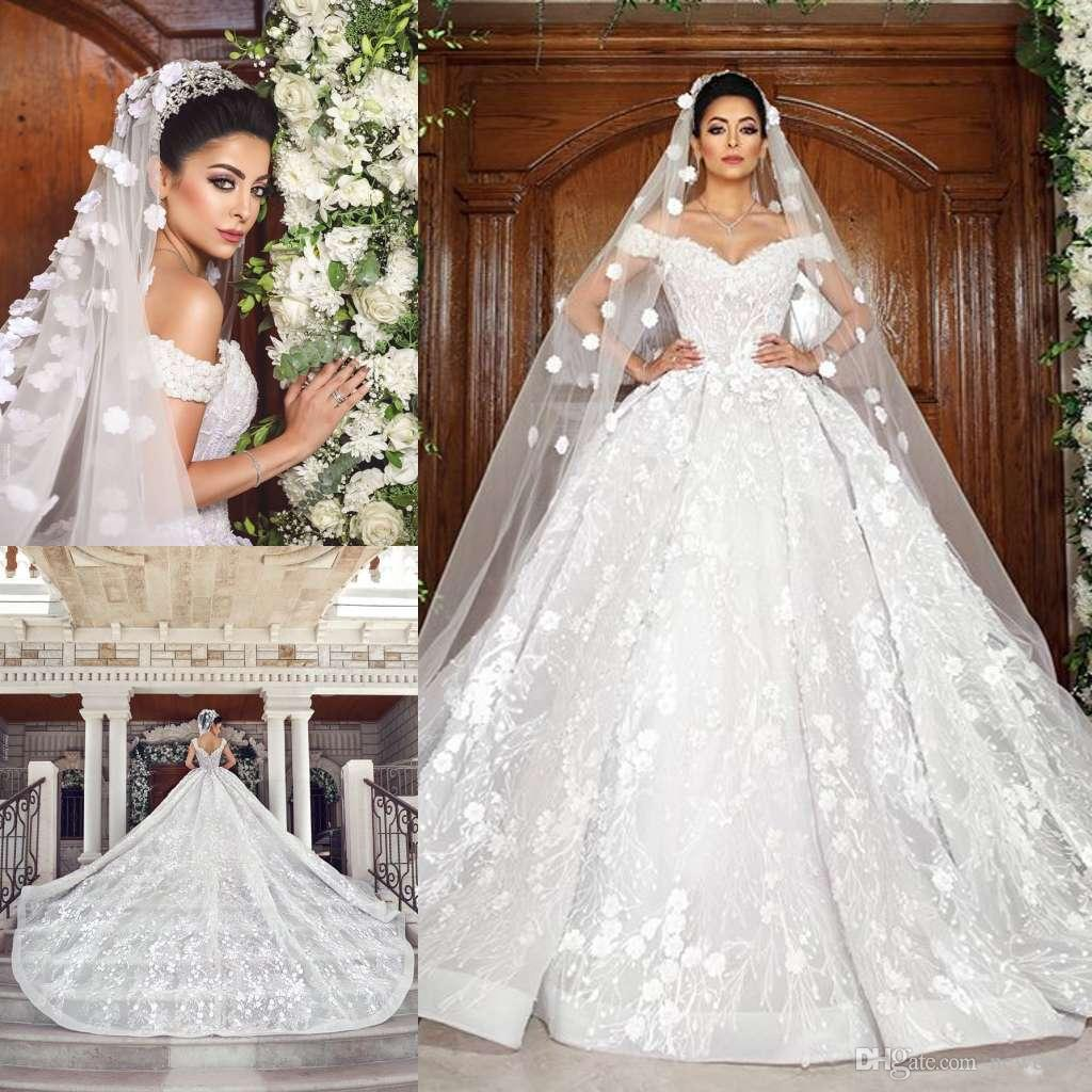 Luxurious Modern Lace Wedding Dresses 2019 Off Shoulder Sleeveless Tulle  Lace Appliques Bridal Gowns Customized Big Ball Gown Wedding Dress Evening  Gowns ... 638512380dba