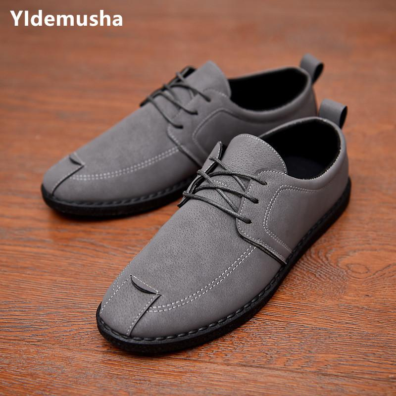 edc466f91d4 YIdemusha Fashion Casual Shoes Men New Spring Autumn Men Flats Lace Up Male  Breathable PU Leather Shoes Zapatillas Hombre Gold Shoes Mens Casual Shoes  From ...