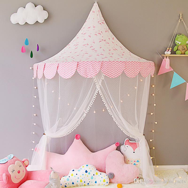 Baby Kids Half Moon Tent Girls 100% Cotton Princess Bed Net Children Bedroom Decor Infant Interior Play House Baby House Window Curtain