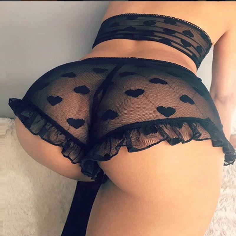 Yeni Seksi kadın Dantel Tül Lingerie Setleri Kalp Baskı Ruffles Egzotik Setleri Pijama Babydoll Lady Seksi Kıyafeti İç