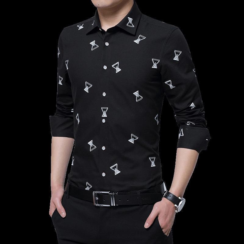 ad1791517 2018 Camisas de hombre Geometría de alta calidad Impreso Camisas de manga  larga Algodón Casual Casual Slim Fit Hombre Vestido Más el tamaño 5XL