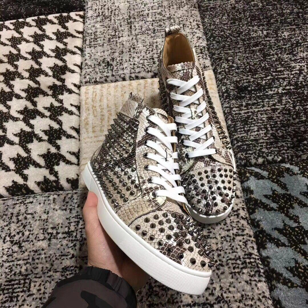 Elegant Designer Python Leather With Spikes Red Bottom Sneaker Shoes For Womens,Mens Luxury Studs Casual Walking High Quality Leisure Flats