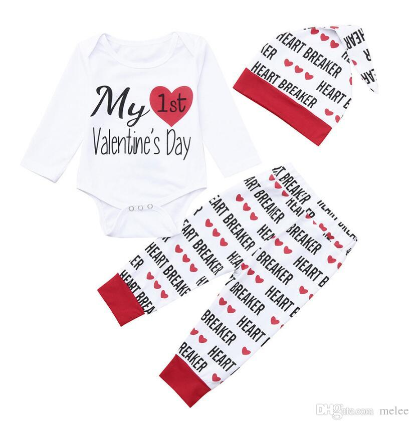 94e772e06d3f 2019 Valentine S Day Outfit Newborn Infant Baby Boy Girl Letter ...
