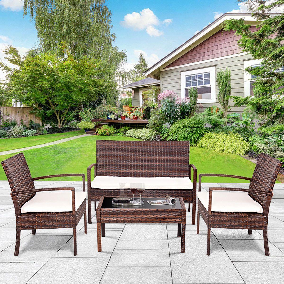 Rattan patio furniture set garden lawn sofa cushioned seat wicker sofa nz 2019 from zhanghao1997 nz 351 76 dhgate nz