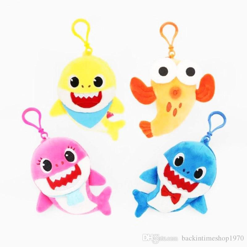 4 Styles 10CM BABY SHARK Hanging keychain 4inch Shark Key Chains Pendant Cartoon Plush&Stuffed Doll Toy 4'' Home Car Bag Decoration Keyrings