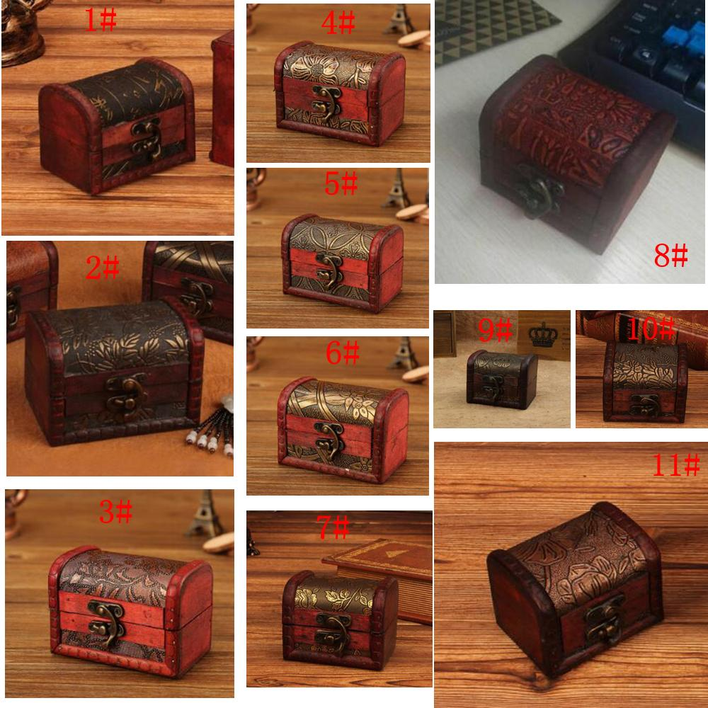 11styles Vintage Jewelry Box Organizer Storage Case Mini Wood Flower Pattern Metal Container Handmade Wooden Small candy Boxes CYF3153-1