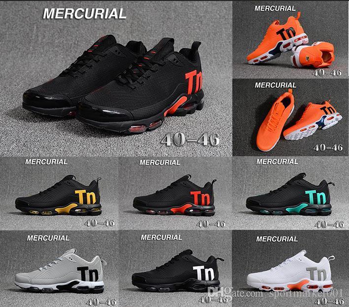 promo code 3b597 548fe Acheter 2019 Nouvel Arrive Hommes Mercurial Plus Tn Ultra SE Noir Blanc  Orange Chaussures De Course Femmes Et Hommes Formateurs Baskets De Sport  Taille 40 ...