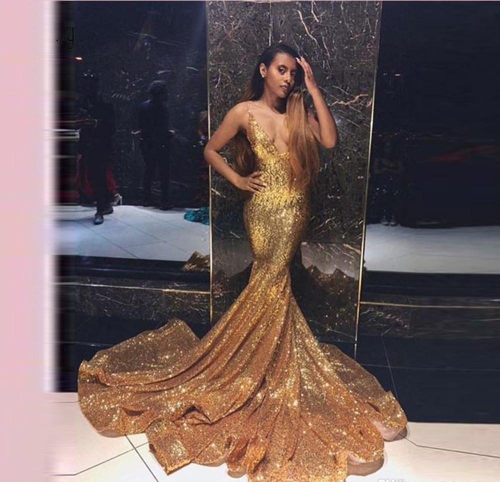 South African Black Girls Gold Sequins Prom Dresses 2019 Mermaid Holidays  Graduation Wear Evening Party Gowns Custom Made Plus Size