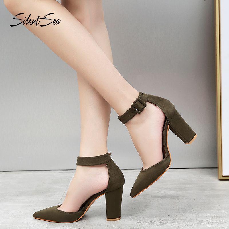 Mujer Correa Vestido Hebilla Señora Clásico Zapatos Bloque Verdes Sexy Silentsea Sandalias Bombas Estable Tacones Altos Verano Gruesas mnNv08w