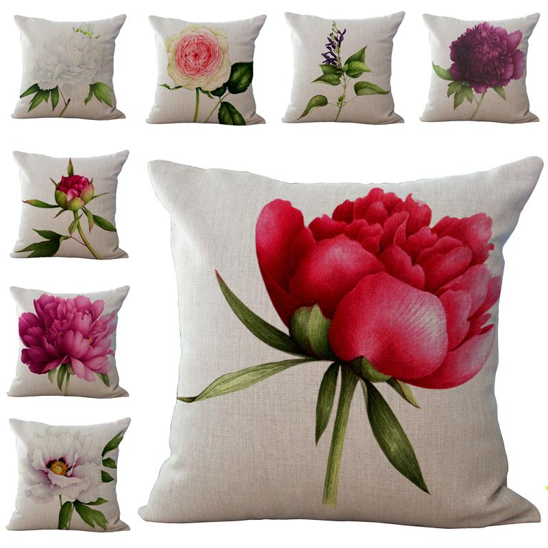 White Rose Flower Pillow Case Cushion Cover Pillowcase Cover Square
