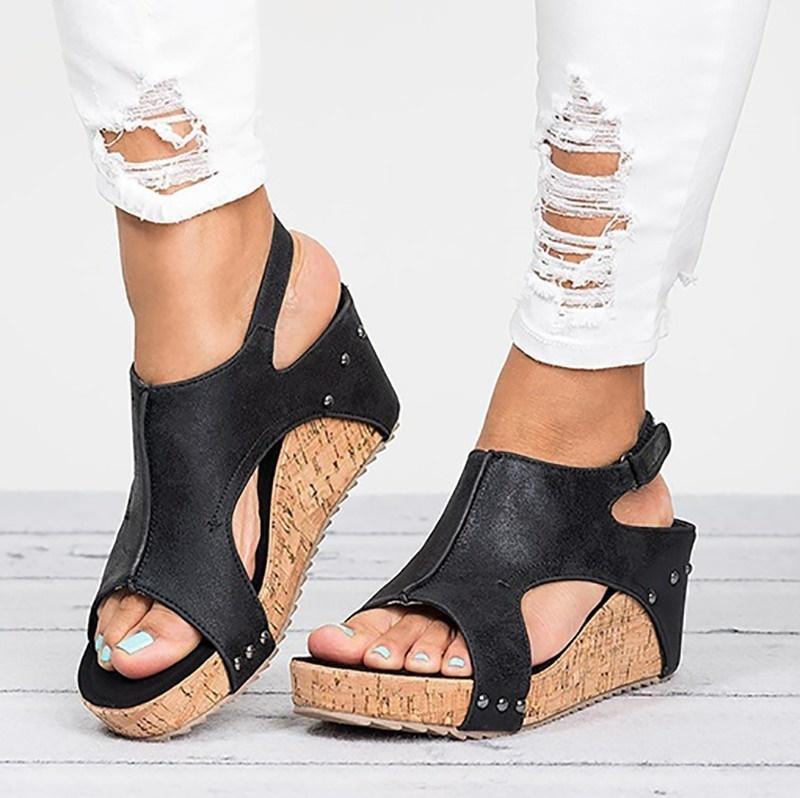 new arrival 1d77a 42a26 Wedges Schuhe Frauen High Heels Sandalen Mit Plateauschuhe Weibliche  Keilabsatz Peep Toe Damen Sommer Schuhe 3 farbe große größe 35-43