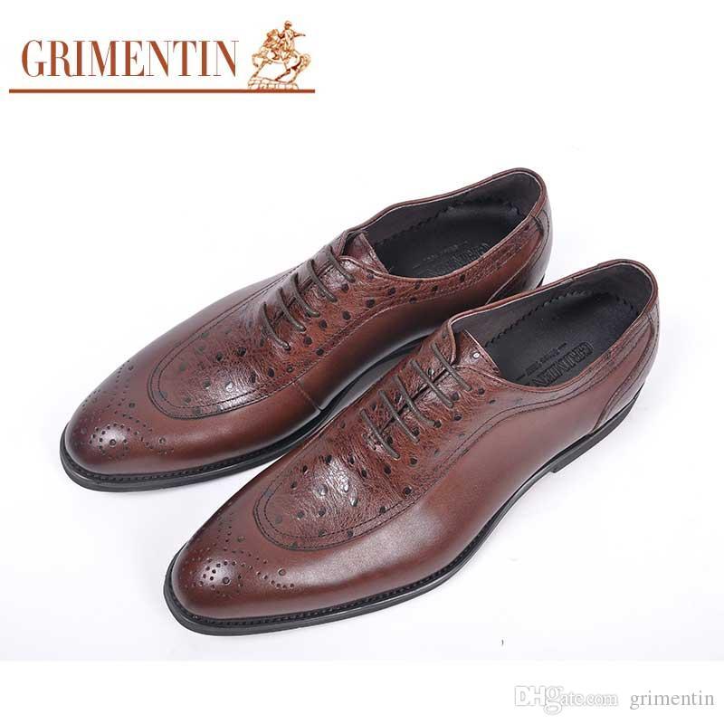 6647ed475 GRIMENTIN Hot Sale Mens Genuine Leather Black Brown Lace Up Formal Business Men  Dress Shoes Italian Fashion Mens Oxfords RC Dress Shoes For Men Leather ...