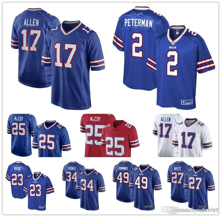 5e980fdf1 Cheap Men 17 Josh Allen American Buffalo Bills Football Jersey Tremaine  Edmunds 25 LeSean McCoy 27 Tre Davious White Nathan Peterman Jerseys
