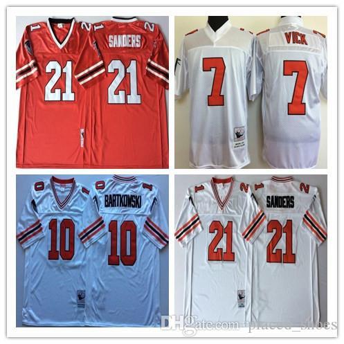 super popular 1a4b8 d4d3e NCAA Mens Atlanta Falcons Red White 10 Steve BARTKOWSKI 21 Deion Sanders 7  Michael Vick Football Jerseys
