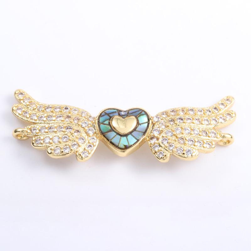 Singreal Abalone Shell Micro Pave Heart Wing Charms Bracelet necklace Choker Pendant connectors for women DIY Jewelry making