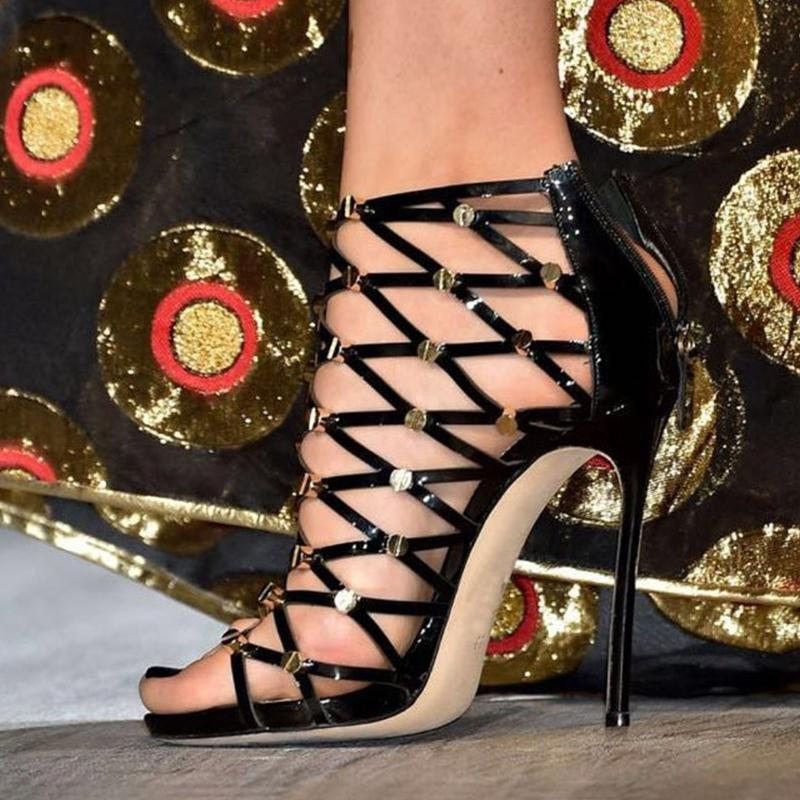 Compre Sexy Sandalias De Gladiador Mujeres Tacón Alto Estilete Punta  Abierta Hollow Out Zapatos Mujer Sandalias Partido Negro Remache Sandalias  Tenis ... dffb852bb866
