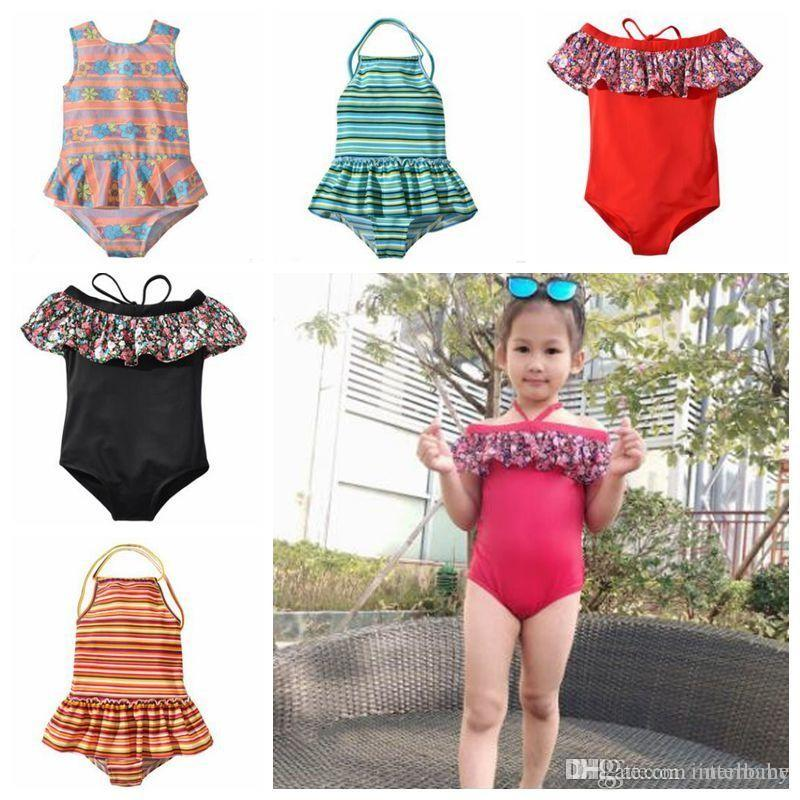 b08594d7848 2019 Kids Swimwear Girls Striped Ruffle Swimsuit One Pieces Bikini Floral  Print Rompers Bodysuit Bathing Suit Baby Summer Fashion Beachwear B5073  From ...