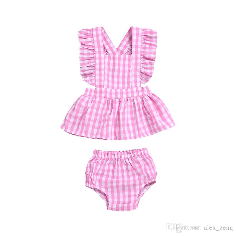 fa10ebc94c906 Baby Girls Plaid Sets Kids Pink Plaid Ruffles Tops+PP Shorts Set ...