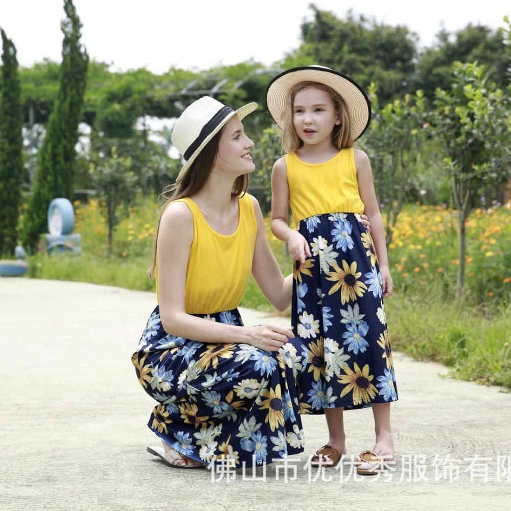 864c42e66c775 Mother Daughter Family Matching Outfits Sleeveless Floral Dress Summer  Chiffon Girl Women Boho Loose Dresses Sundress Clothes