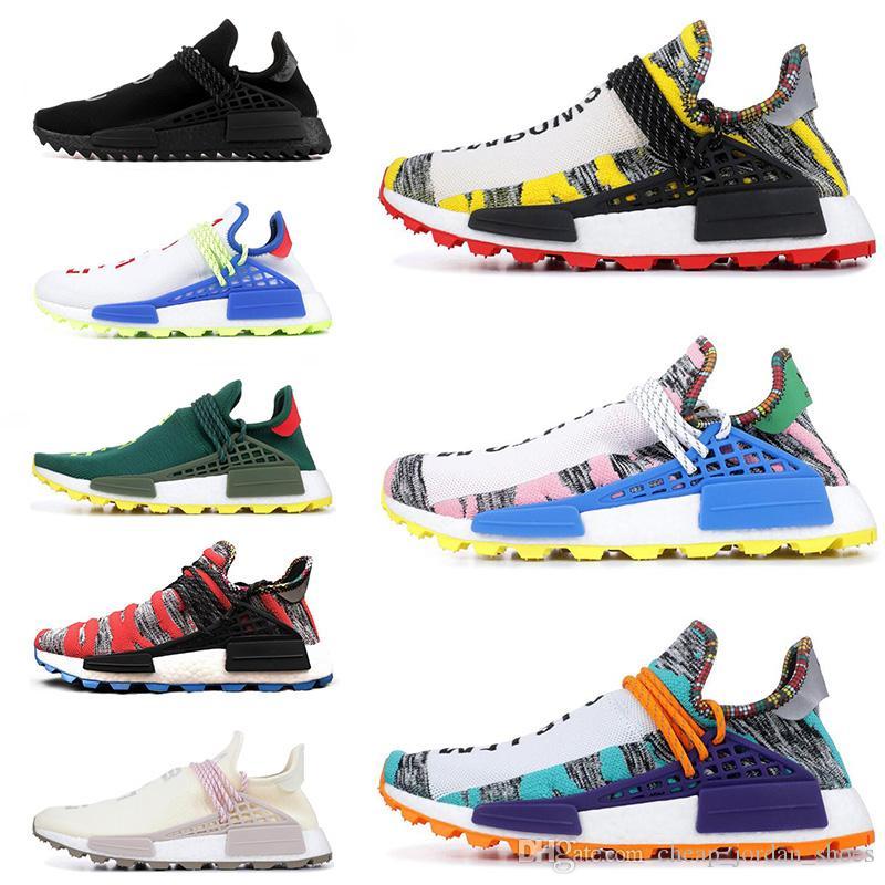 ad4a960ac Compre 2019 Raça Humana Hu Trilha X Pharrell Williams Nerd Homens Correndo  Sapatos Creme Preto Branco SOLAR PACK Mens Formadores Para Mulheres Sports  ...