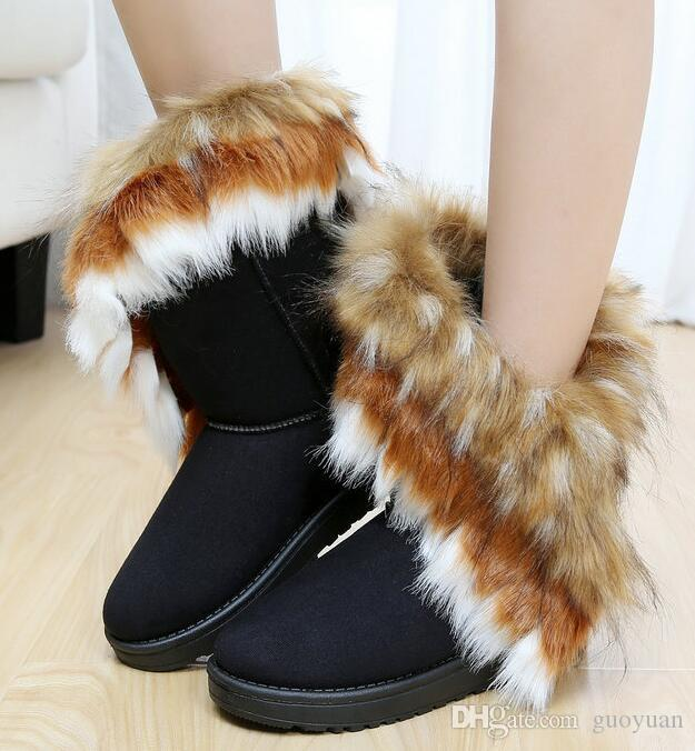 999f3545f 2019 HOT Women Boots Autumn And Winter Snow Boots Feathers Fox Fur Flat  Bottomed Short Cotton Padded Shoes Winter Boots XMAS Gift Ankle Boot High  Heel Shoes ...