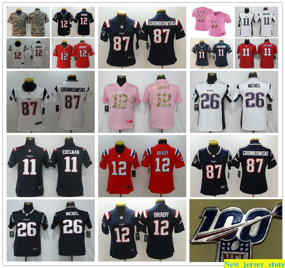100th Women Youth Kids NewEnglandPatriotsFootball Jersey Stitched New 12 TomBrady 11 JulianEdelman 87 RobGronkowski 26 SonyMichel Shirt