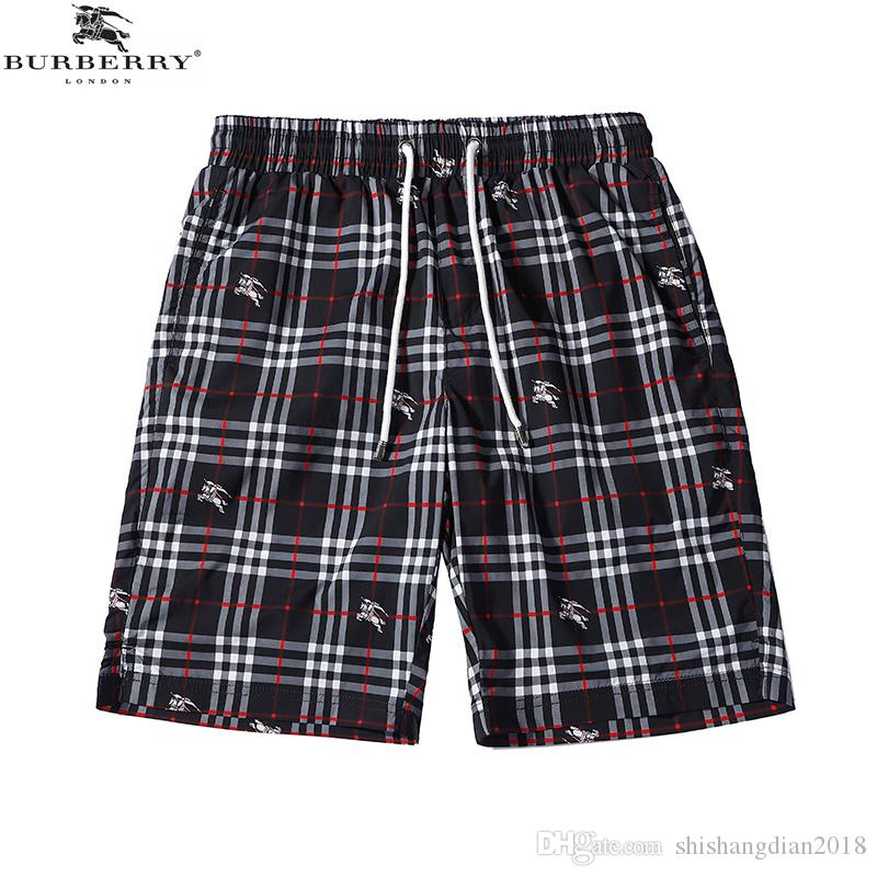 Summer and summer fashion shorts new classic drawstring beach casual shorts retro flying horse check mark striped men's fashion shorts