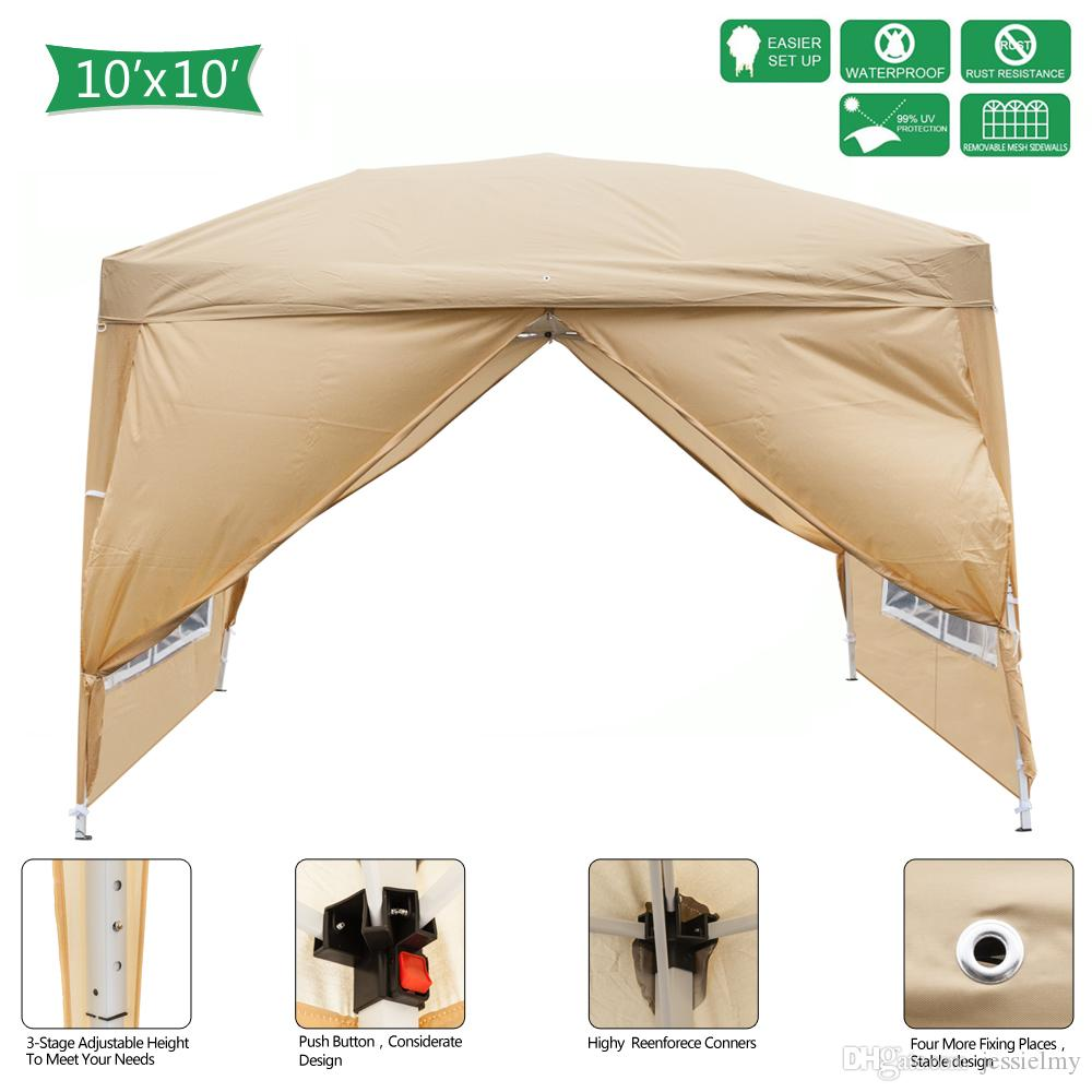 Khaki 3 x 3m Canopy Tent Heavy Duty Outdoor Wedding Party Patio Waterproof Tent with Spiral Tubes Instant Setup Sun Shelter Marquee Tent