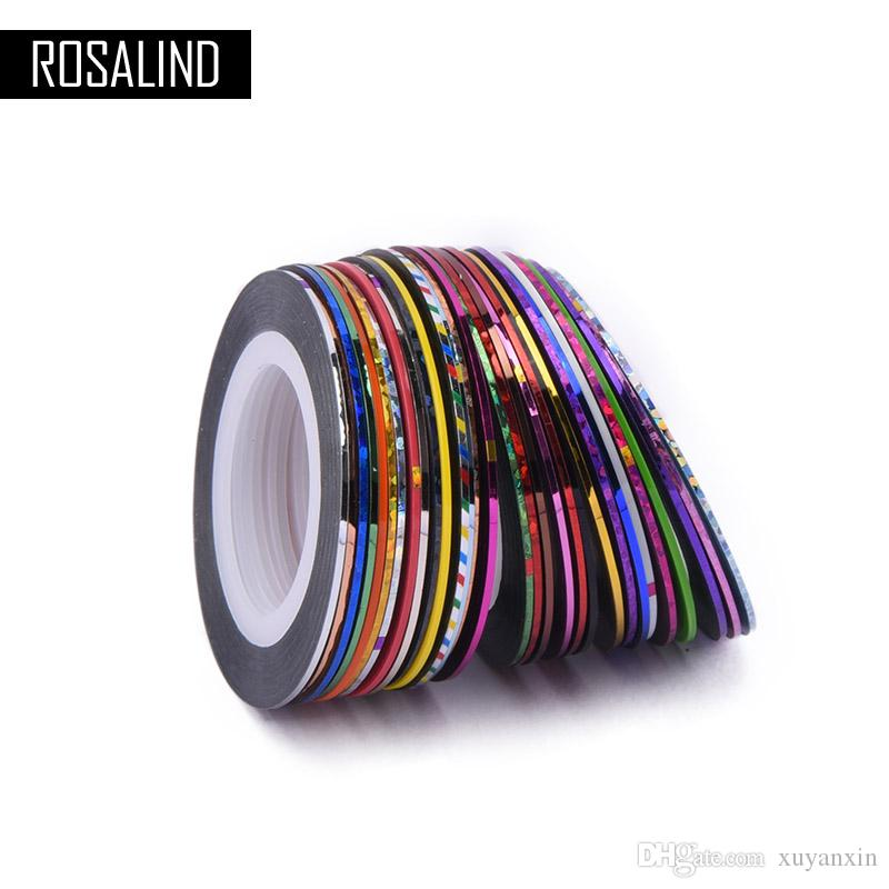 ROSALIND 30Pcs/Lot Multicolor Mixed Colors Rolls Striping Tape Line Nail Art Decoration Sticker DIY Nail Tips Manicure tools