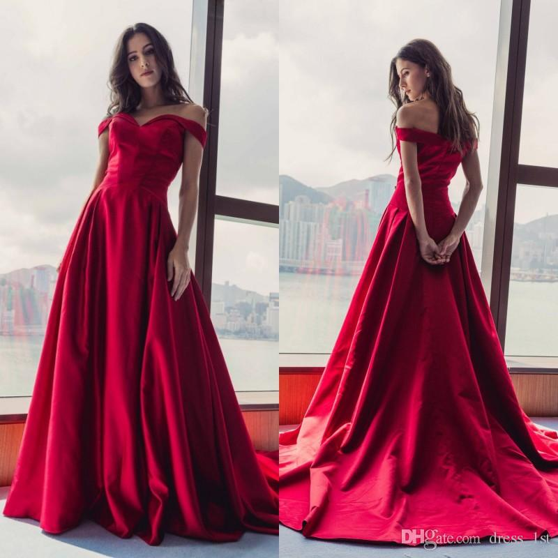 8166baed5e2 Spring 2019 Red Long Prom Dresses Off The Shoulder Straps A Line Court  Train Satin Elegant Evening Formal Dresses 2018 Evening Gowns Uk Formal  Evening Gowns ...