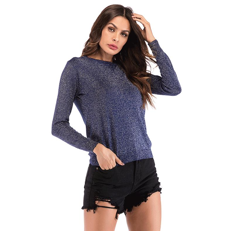 Womens Lady Girl Girlish Knitted Top Knitwear Tee Solid Color T-shirt O-neck Slim Long Sleeve Pullover 4 Colors Casual B102237Z
