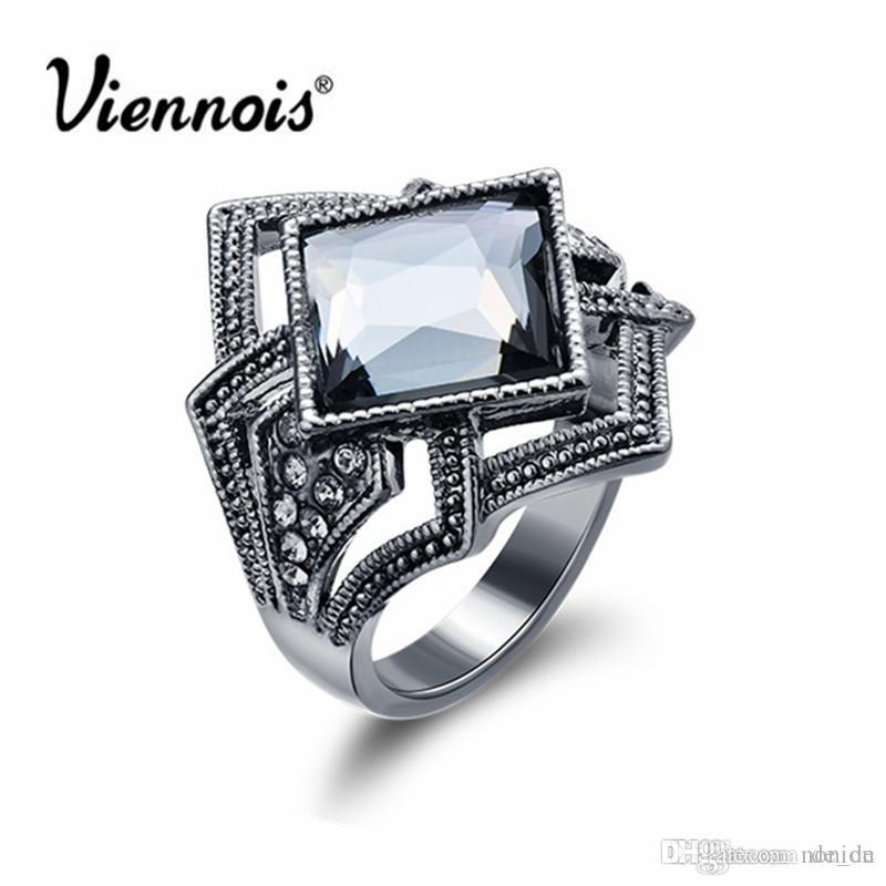 Wholesale- Newest Viennois Fashion Jewelry Gun Color Geometric Finger Rings for Woman Rhinestone and Crystal Party Accessories