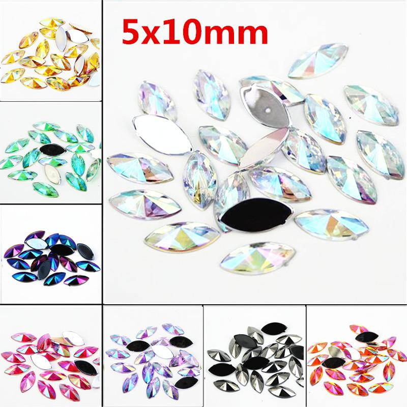 High quality horse eye shape resin AB crystal acrylic rhinestone 5x10MM 500Pcs flat back tip multifaceted DIY nail decoration