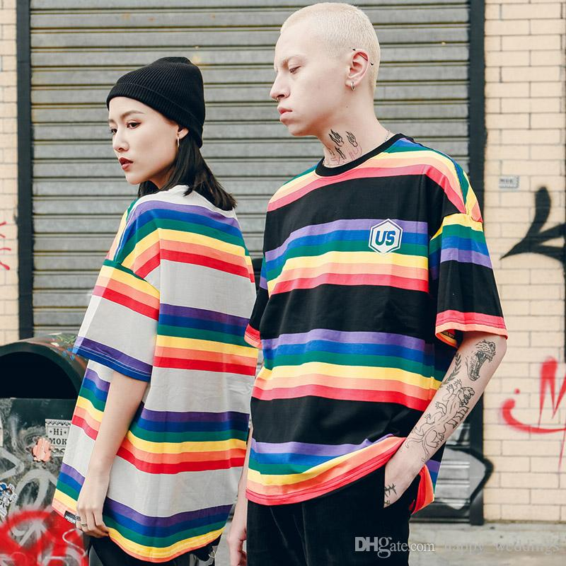 2019 Men Hip Hop T Shirt Harajuku Rainbow Striped T Shirt Korean