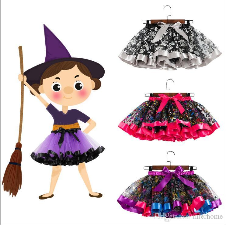 Kids Tutu Skirts Halloween Mini Dresses Tulle Dance Pettiskirt Ballet Bubble Skirts Dot Bow Halloween Costume Ball Gown Princess Skirt B6543