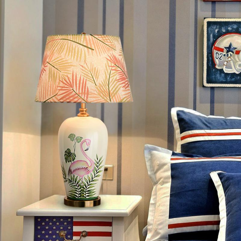 2019 Luxury Ceramic Table Lamp Living Room Hand Drawn Flamingo ...