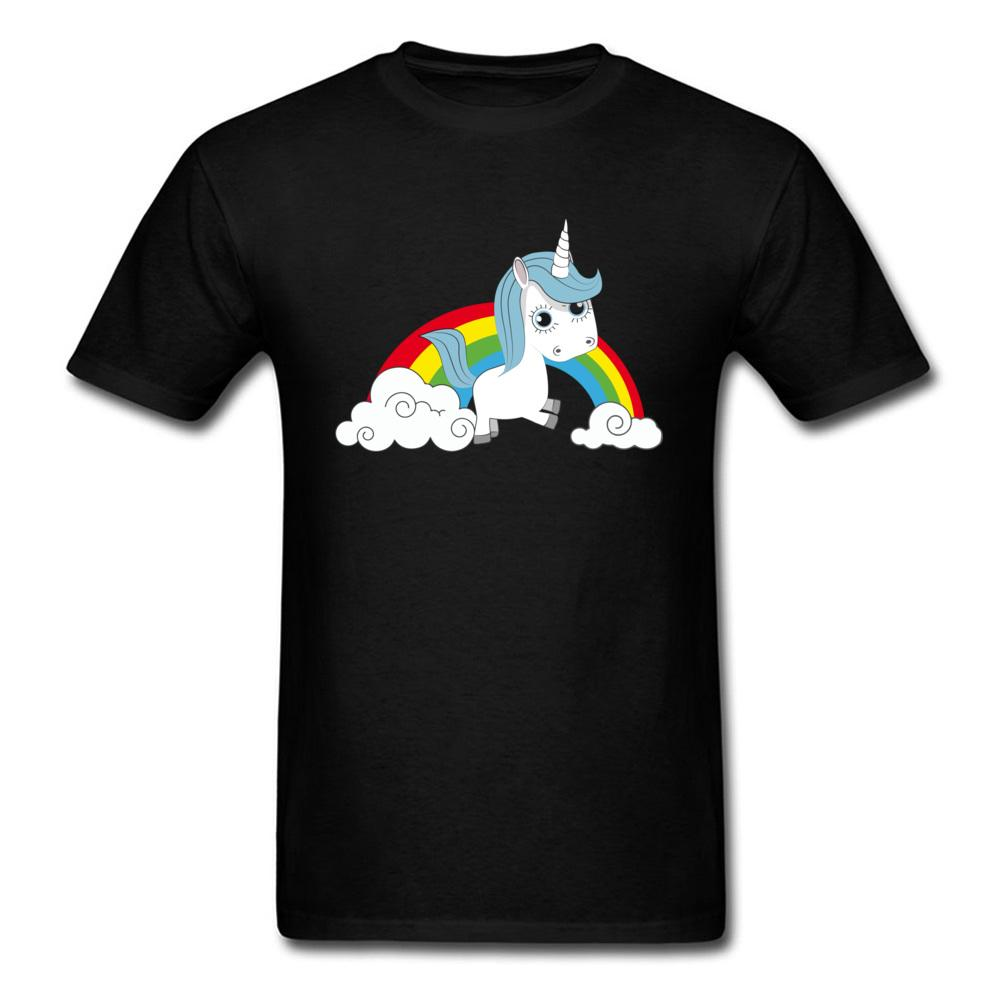 Rainbow T Shirt Men Tshirt Cuteness Black T-shirt Horse Lover Tops Couple Tee Hip Hop Clothes Kawaii Designer