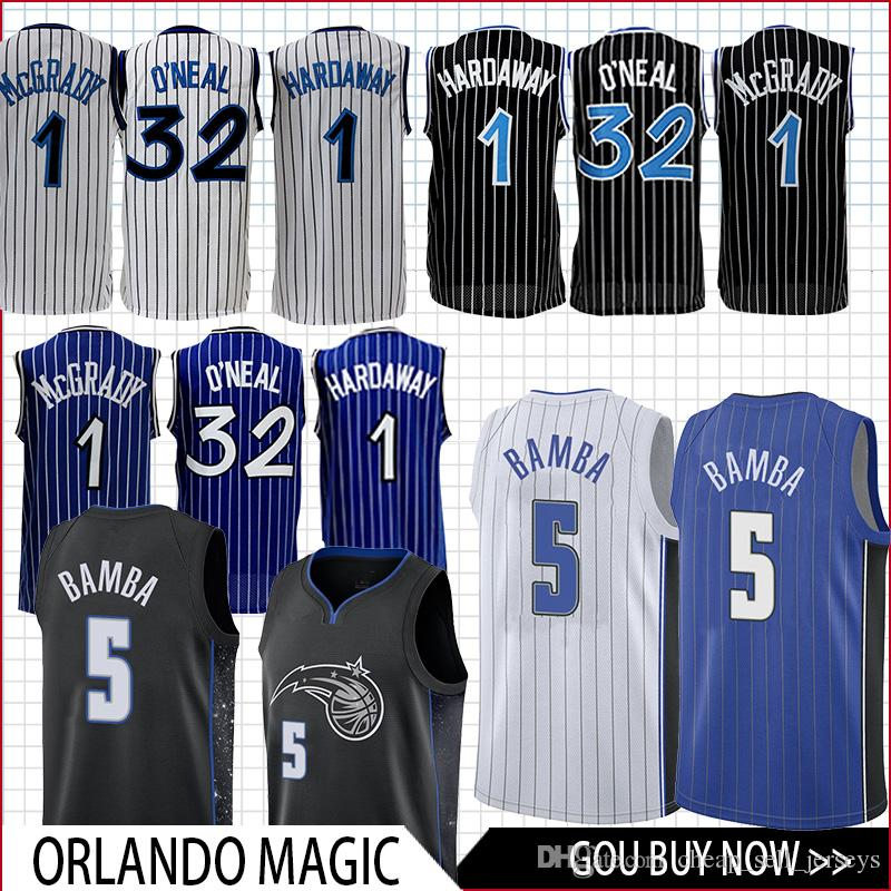 los angeles 25e81 a6485 Men 5 Bamba ORLANDO Jersey 1 Mcgrady 1 Hardaway 32 O'Neal basketball Jersey  men fans top quality