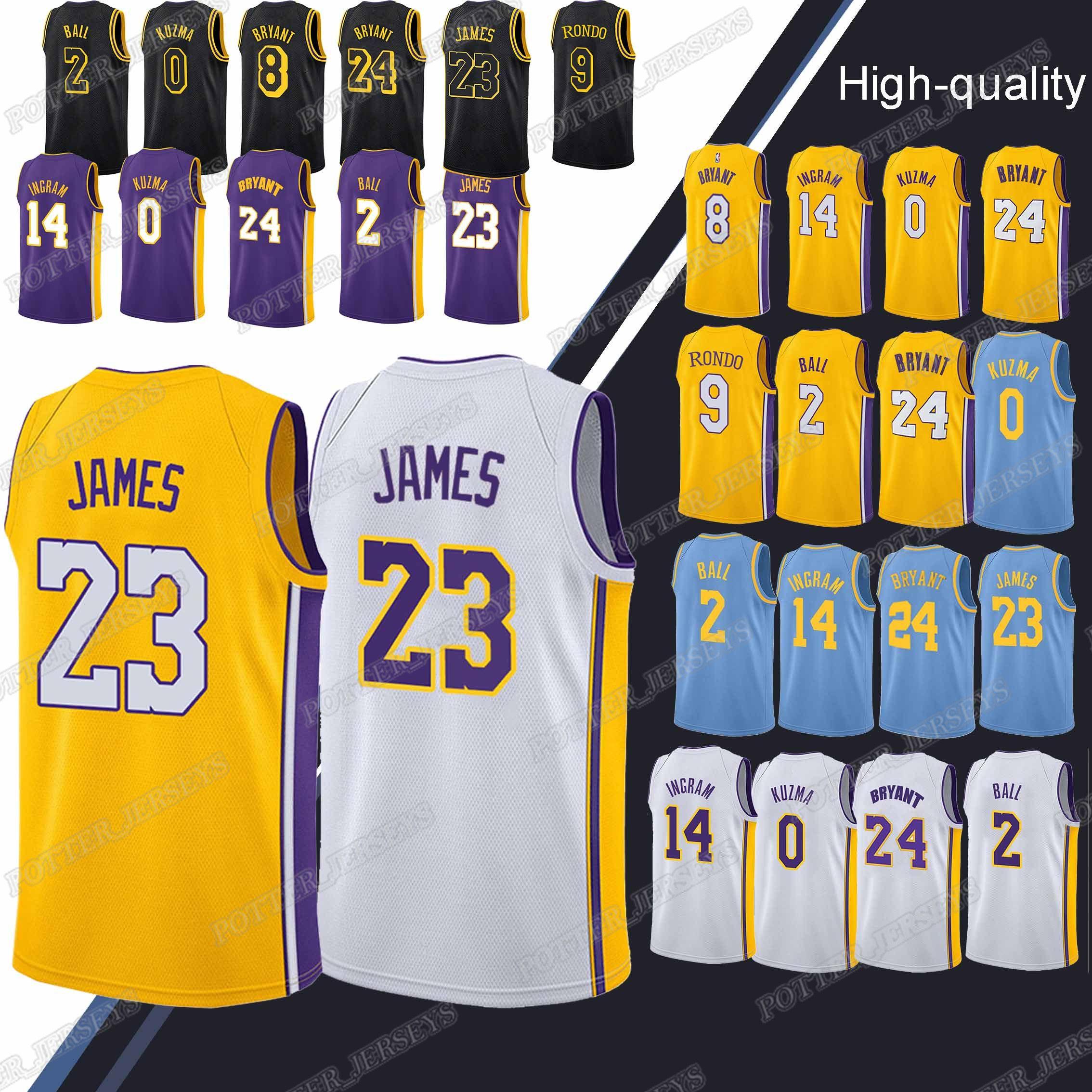 100% authentic 68821 8786a 23 LeBron James Los Angeles jersey Laker 24 Bryant 0 Kuzma 2 Ball Hot sale  2019 menbasketball jerseys
