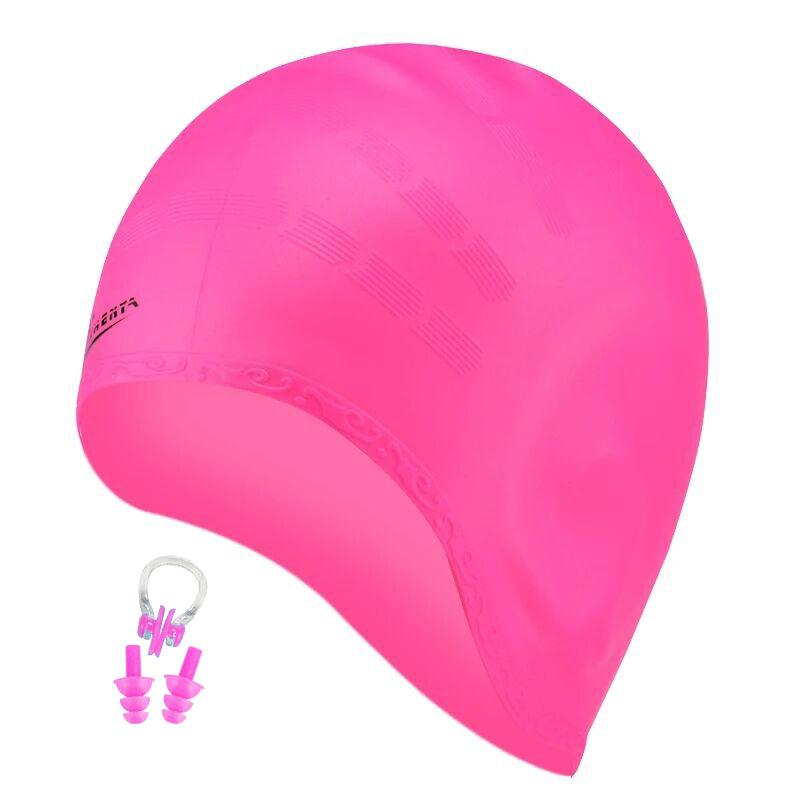 Long hair Swimming Caps Men Women Ear Plug Nose CLip arge Big Silicone Waterproof Girls Swim Pool Hat Professional Diving Caps