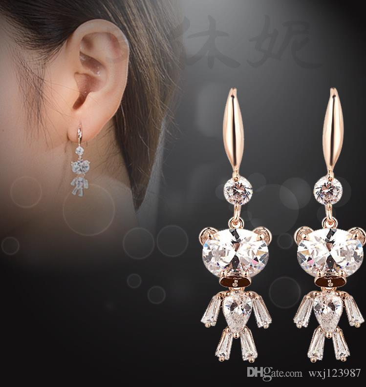 Korean version of popular cute accessories wholesale zircon bear earrings