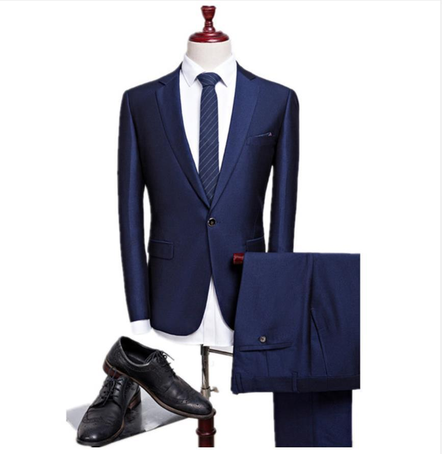 Latest Slim Fit Best Tailored Wedding Navy Blue Men Blazer Business Tuxedo Mens Grooming Dinner Prom Suits Coat Pant C19041601