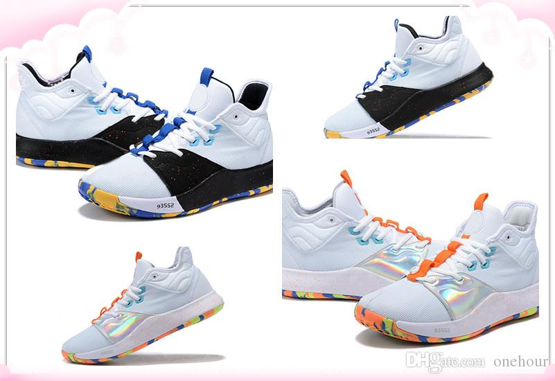 0ad5944882c7 2019 Latest Paul George 3 Fluorescent White Black Blue Orange Mens  Basketball Shoes Good Quality PG 3 Men Designer Sneakers With Box Kids Sneakers  Shoes ...